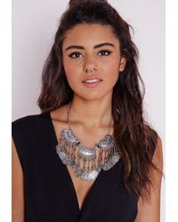 Missguided - Metallic Statement Layered Coin Necklace Silver - Lyst