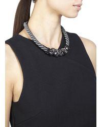 John & Pearl | Gray Atom Grey Rope Swarovski Necklace | Lyst