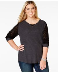 Lucky Brand | Black Lucky Brand Plus Size Mesh-sleeve Thermal Top | Lyst