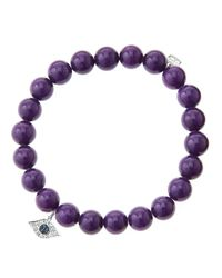 Sydney Evan | 8mm Purple Mountain Jade Beaded Bracelet with 14k White Golddiamond Small Evil Eye Charm Made To Order | Lyst