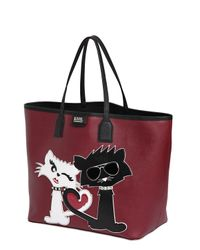 Karl Lagerfeld - Red K Choupette Love Faux Leather Tote Bag - Lyst