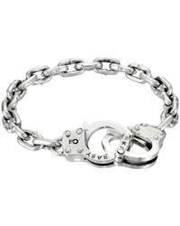 King Baby Studio - Metallic Handcuff Clasp Silver Bracelet - Lyst