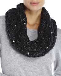 Betsey Johnson | Black Pearly Girl Infinity Scarf | Lyst