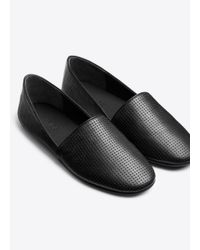 Vince Black Bogart Perforated-Leather Flats