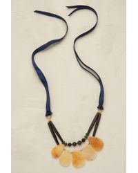 Anthropologie - Blue Ambrette Ribbon Necklace - Lyst