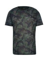 River Island Natural Khaki Faded Camo Print T-shirt for men