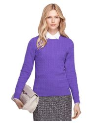 Brooks Brothers - Purple Cashmere Cable Knit Crewneck Sweater - Lyst