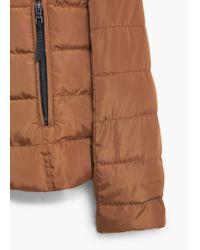 Mango - Brown Side-zip Quilted Coat - Lyst