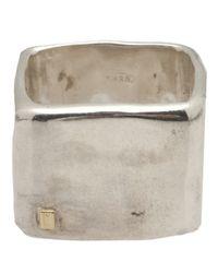 Rosa Maria Metallic Wide Chunky Square Ring