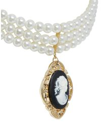 ASOS | Black Multi Row Faux Pearl Choker Necklace with Cameo | Lyst