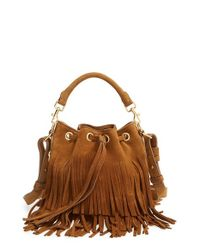 Saint Laurent Brown Emmanuelle Fringed Bucket Bag