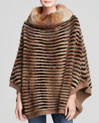 Maximilian | Natural Muskrat Fur Poncho With Rex Rabbit Inserts | Lyst