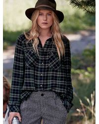 Free People Black Woodman Plaid Shirt