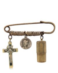 Maria Zureta - Metallic Religious Bronze Safety Pin - Lyst