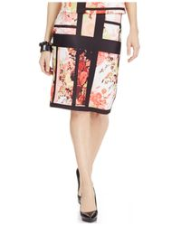 Eci - Pink Paneled Floral-Print Pencil Skirt - Lyst