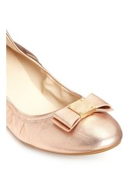 Cole Haan Pink 'tali Bow Ballet' Metallic Leather Flats