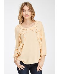 Forever 21 - Orange Contemporary Ruffled Crepe Top - Lyst