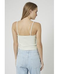 TOPSHOP - Green Ribbed Crop Cami - Lyst