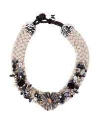 Weekend by Maxmara - White Jeweled Plaited Necklace - Lyst
