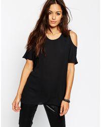 ASOS Black Cold Shoulder T-shirt