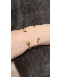 Giles & Brother Metallic Skinny Stone Pied De Biche Cuff Bracelet - Brass Ox/Tigers Eye