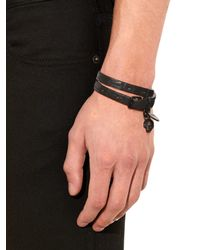 Alexander McQueen - Black Wraparound Leather Bracelet for Men - Lyst