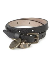 Alexander McQueen | Black Grained Leather Wrap Bracelet for Men | Lyst