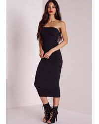 fc189a3a8d403 Lyst - Missguided Ribbed Bandeau Bodycon Dress Black in Black