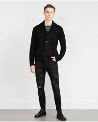 Zara | Black Cable Knit Cardigan for Men | Lyst