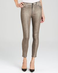 J Brand Metallic Jeans - Exclusive Stocking Alana High Rise Crop In Gold Dust