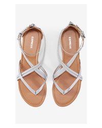 Express White Braided Metallic Low Thong Sandal