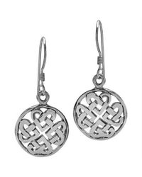 Aeravida - Metallic Round Celtic Heart Knot Sterling Silver Dangle Earrings - Lyst
