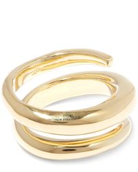 Jennifer Fisher Metallic Gold-plated Twisted Cylinder Ring
