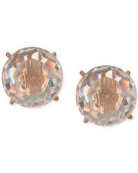Anne Klein | Metallic Gold-tone Faceted White Stone Stud Earrings | Lyst