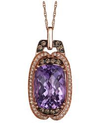 Le Vian | White (1/8 Ct. T.w.) And Chocolate (1/6 Ct. T.w.) Diamond Pendant Necklace In 14k Rose Gold | Lyst