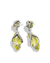 David Yurman | Yellow Cable Wrap Double-Drop Earrings With Lemon Citrine And Diamonds | Lyst