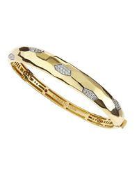 Roberto Coin | Metallic Martellato Diamond Bangle Bracelet | Lyst