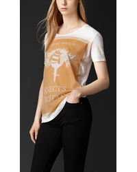 Burberry - White Book Cover Print Cotton T-Shirt - Lyst