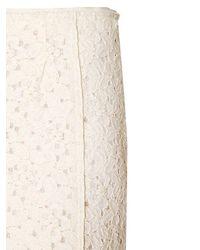 Nina Ricci White Cotton Blend Lace Skirt