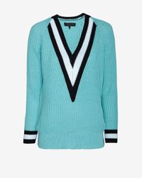 Rag & Bone - Blue Talia Deep V Varsity Sweater - Lyst