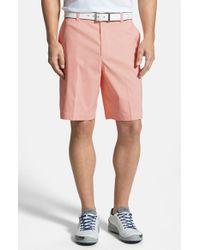 Cutter & Buck - Orange 'charter' Flat Front Drytec Shorts for Men - Lyst