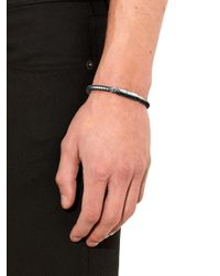 Bottega Veneta - Metallic Intrecciato Oxidised-Silver Bracelet for Men - Lyst
