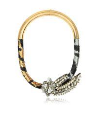 Shourouk - Metallic Aigrette Tiger Comet Necklace - Lyst
