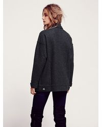 Free People Gray Jennys Military Sweater Jacket