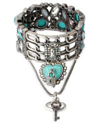 Betsey Johnson - Blue Silver-Tone Teal Stone And Heart Lock Ring Bracelet - Lyst