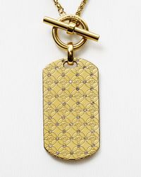 "Michael Kors - Metallic Monogram Dog Tag Pendant Necklace, 22"" - Lyst"