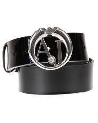 Armani Jeans | Black Belt Patent Metal Logo Buckle | Lyst