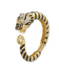 Kenneth Jay Lane | Metallic Black & Crystal Tiger Head Bracelet | Lyst