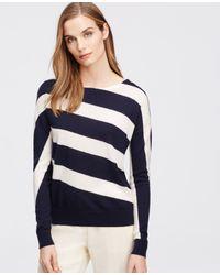 Ann Taylor   Blue Diagonal Stripe Sweater   Lyst