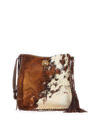 Ralph Lauren Brown Artisinal Calf Hair Tassel Hobo Bag